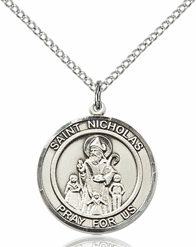 St Nicholas Medium Patron Saint Silver-filled Medal by Bliss