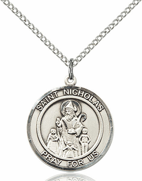 St Nicholas Medium Patron Saint Sterling Silver Medal by Bliss
