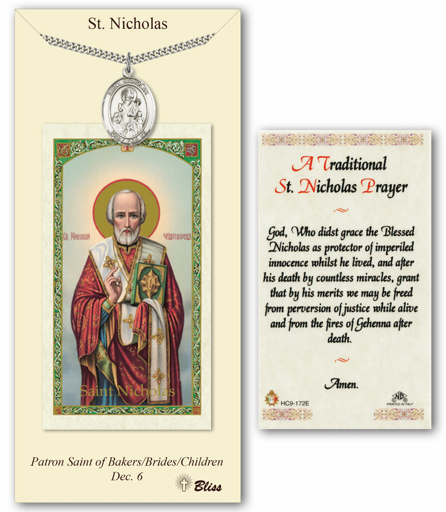 Bliss Mfg St Nicholas Prayer Card & Pendant Gift Set