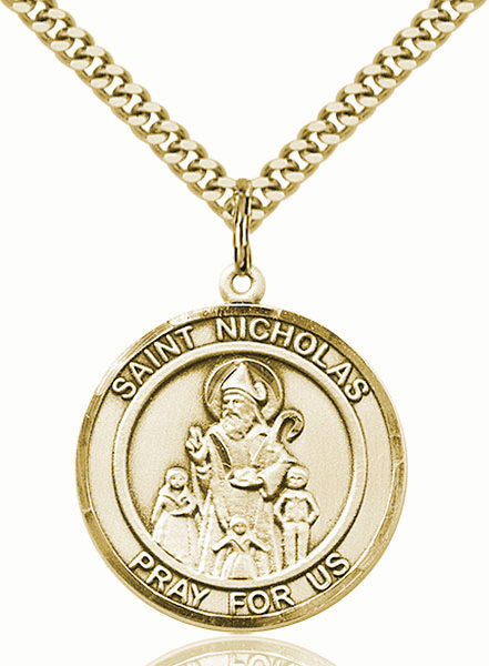 St Nicholas Round 14kt Gold-filled Patron Saint Medal Necklace by Bliss
