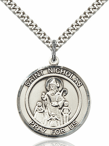 St Nicholas Round Sterling Silver Saint Medal Necklace by Bliss