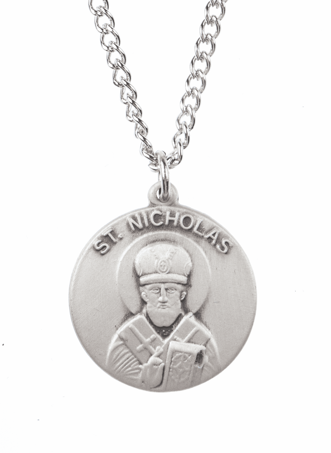 "St Nicholas Saint Medal Pendant w/18"" Chain by Jeweled Cross"