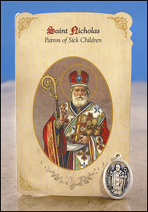 St Nicholas Sick Children Healing Holy Cards w/Medals 6 pcs by Milagros