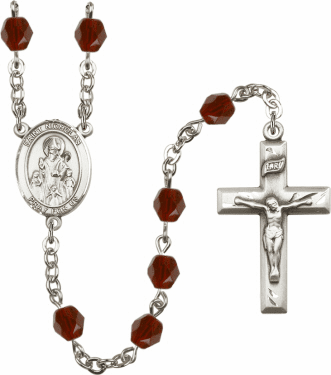 St Nicholas Silver Plate Birthstone Crystal Prayer Rosary by Bliss