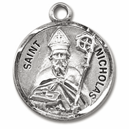St Nicholas Sterling Silver Patron Saint Necklace by HMH Religious