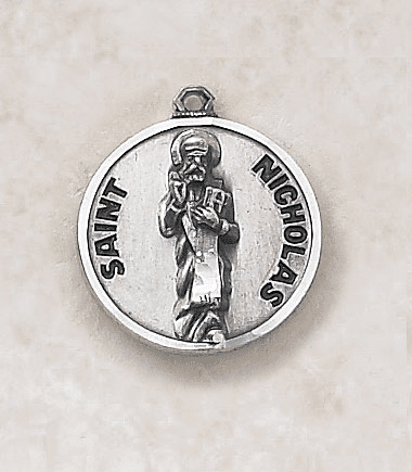 St Nicholas Sterling Sterling Patron Saint Medal w/Chain by Creed Jewelry