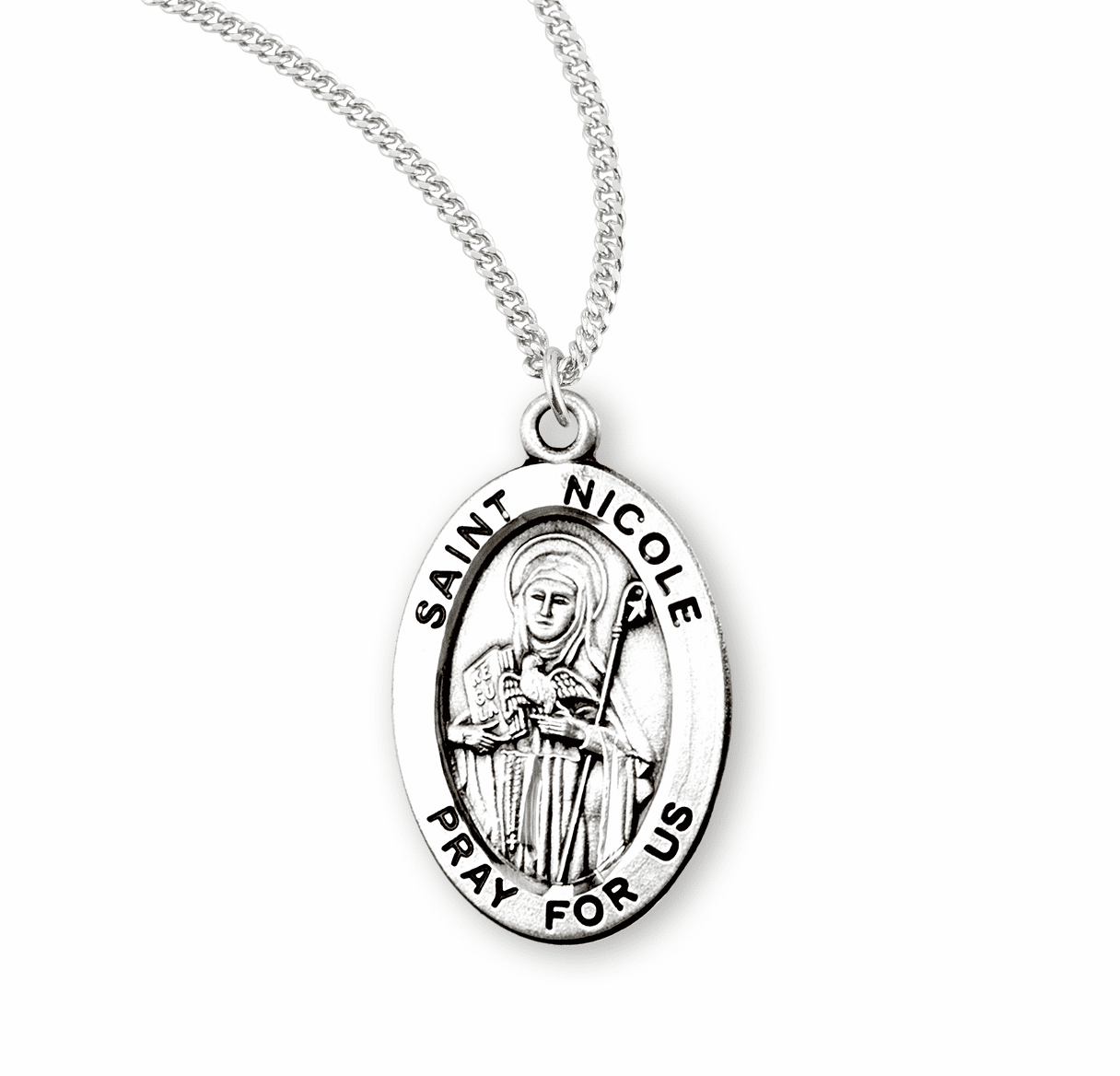 HMH Religious St Nicole Catholic Saint Sterling Silver Medal Necklace
