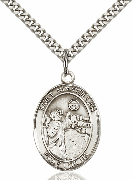 St. Nimatullah Sterling Silver Religious Medal  Necklace by Bliss