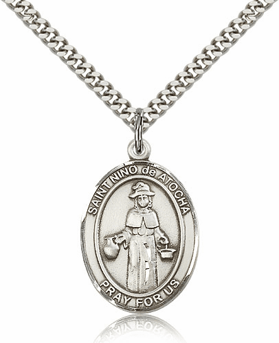 St Nino de Atocha Silver-filled Patron Saint Necklace with Chain by Bliss