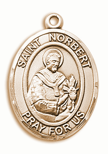 St Norbert of Xanten 14kt Gold Patron Saint Medal by Bliss