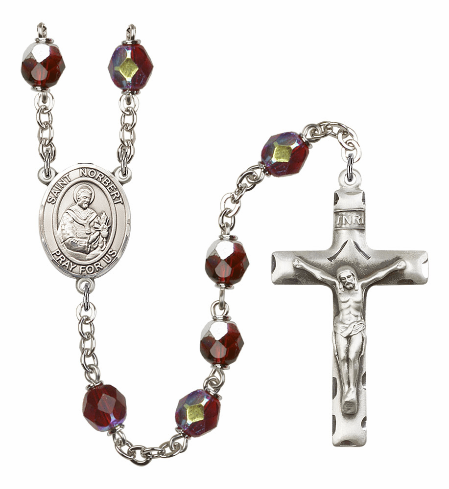 St Norbert of Xanten 7mm Lock Link Aurora Borealis Garnet Rosary by Bliss Mfg