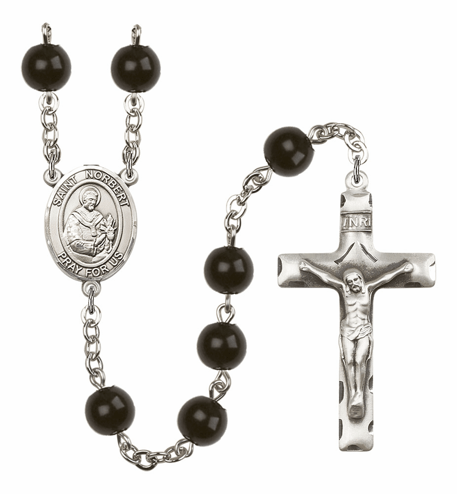 St Norbert of Xanten Silver Plate 7mm Black Onyx  Prayer Rosary by Bliss