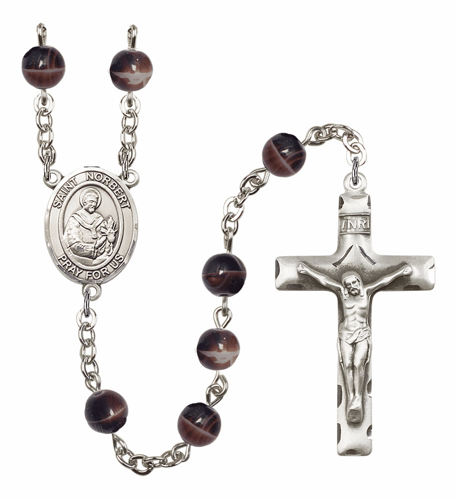 St Norbert of Xanten Silver Plate 7mm Brown Gemstone Prayer Rosary by Bliss