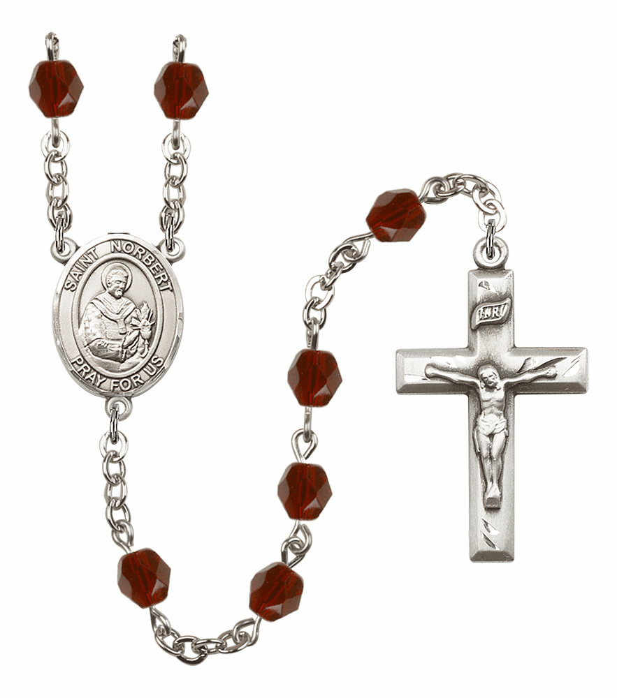 St Norbert of Xanten Silver Plate Birthstone Crystal Prayer Rosary by Bliss