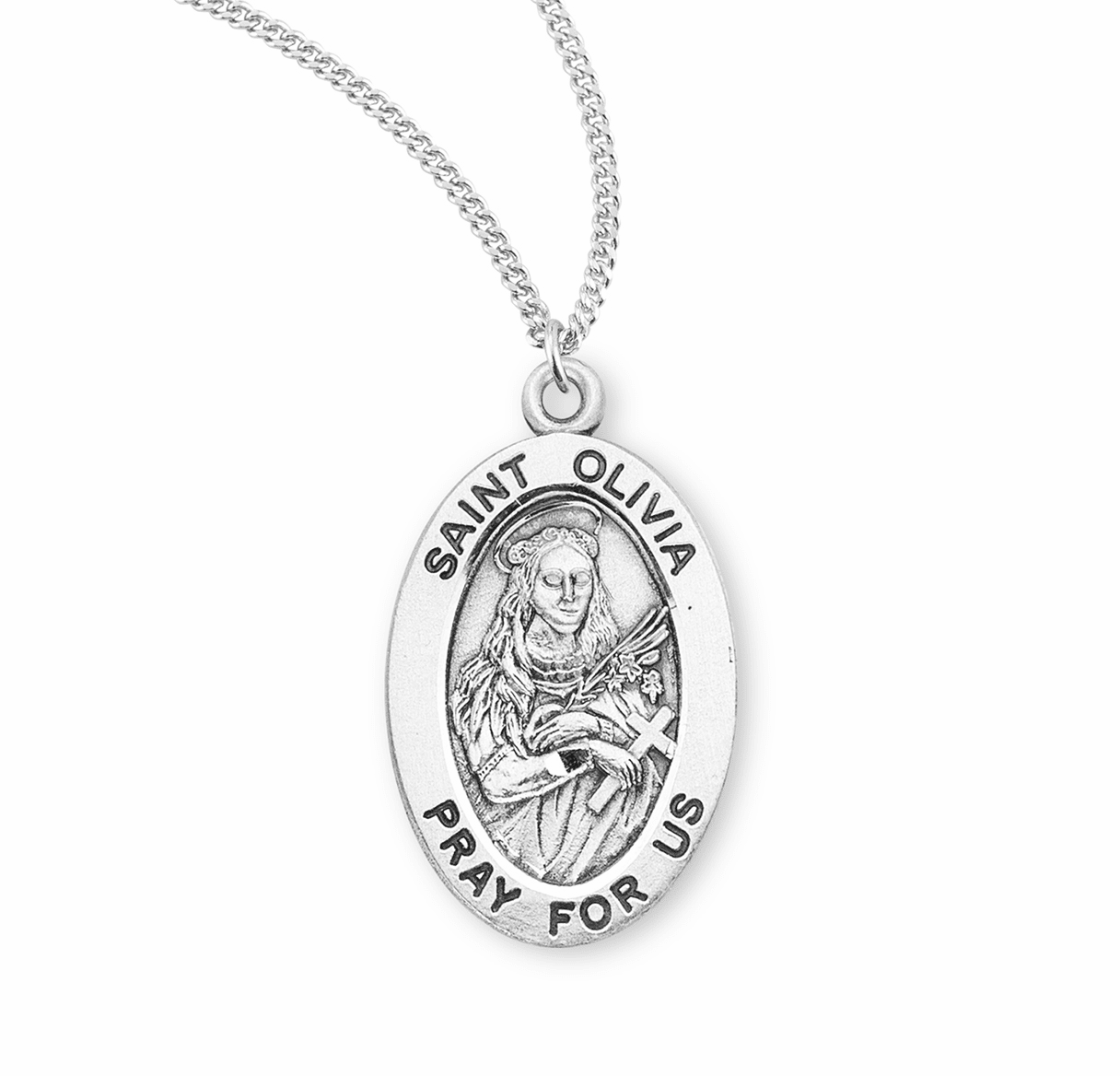 HMH Religious St Olivia Catholic Saint Sterling Silver Medal Necklace