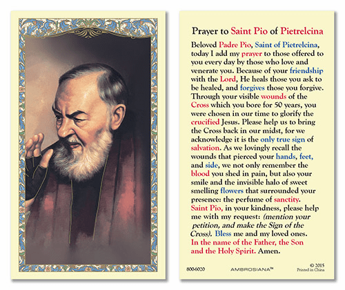 St Padre Pio of Pietrelcina Laminated Gerffert 25pkg Holy Cards