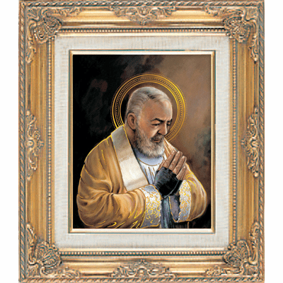 St Padre Pio under Glass with Gold Framed Picture by Cromo N B Milan Italy