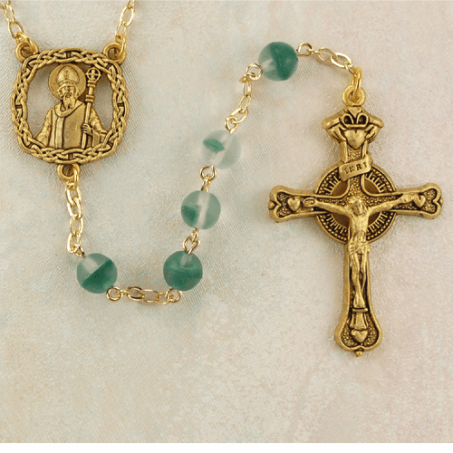 St Patrick Gold w/ Frosted Green Beads Rosary