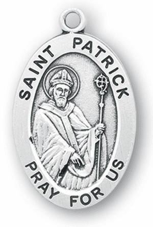 St Patrick Large Saint Sterling Silver Medal Necklace w/Chain by HMH Religious
