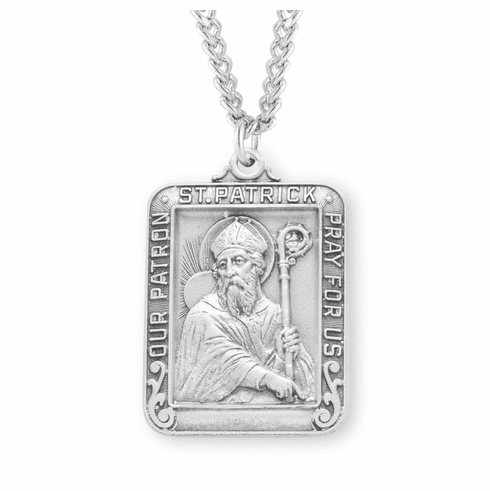 St Patrick Large Square Sterling Silver Medal Necklace by HMH Religious
