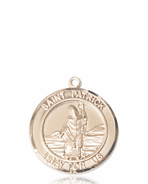 St Patrick Medium Patron Saint 14kt Gold Medal by Bliss
