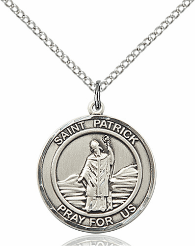 St Patrick Medium Patron Saint Silver-filled Medal by Bliss