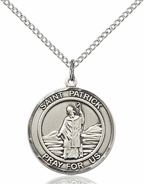 St Patrick Medium Patron Saint Sterling Silver Medal by Bliss