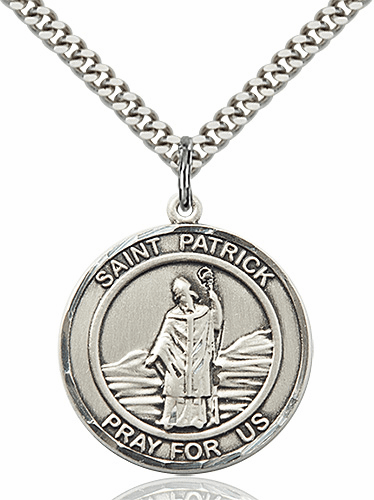 St Patrick Round Patron Saint Medal Necklace by Bliss