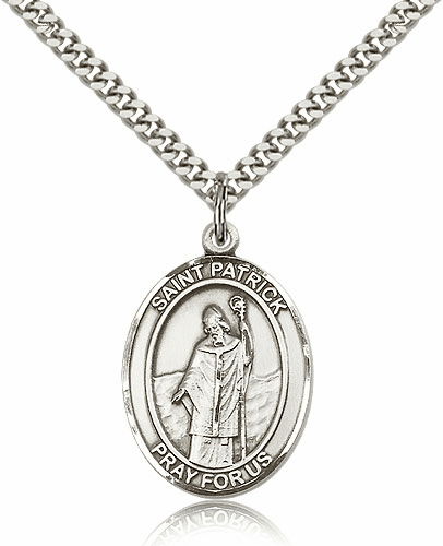 St Patrick Sterling Silver-filled Patron Saint Necklace by Bliss