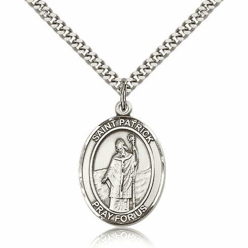 St Patrick Silver-Filled Patron Saint Necklace by Bliss