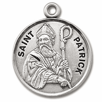 St Patrick Sterling Silver Patron Saint Necklace by HMH Religious