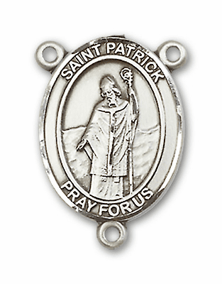 St Patrick Sterling Silver Saint Rosary Center by Bliss