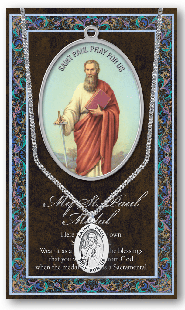 St Paul Pewter Patron Saint Medal Necklace with Prayer Pamphlet by Hirten