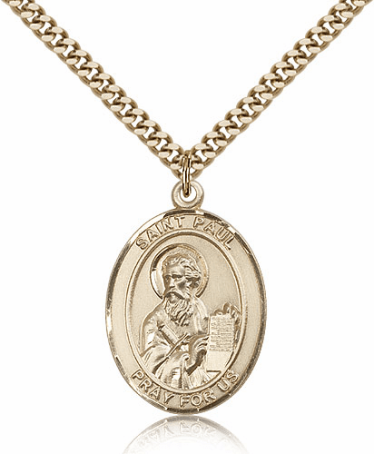 Bliss St Paul the Apostle Oval Gold Filled Patron Saint Medal Necklace
