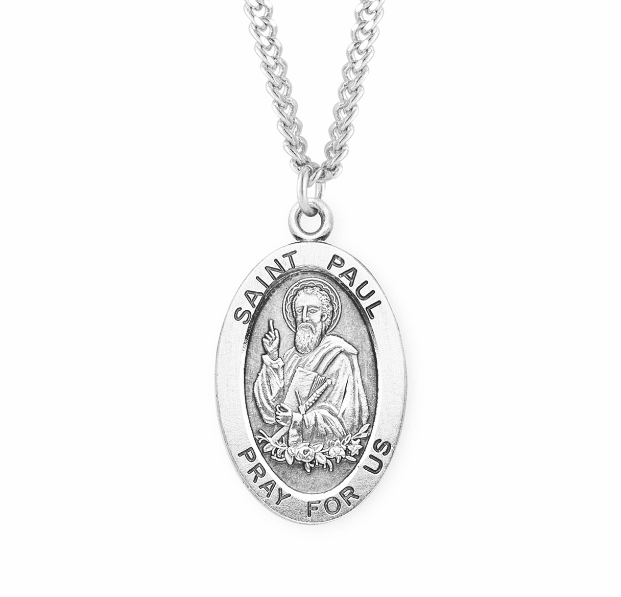 HMH Religious St Paul the Apostle Large Oval Sterling Silver Necklace