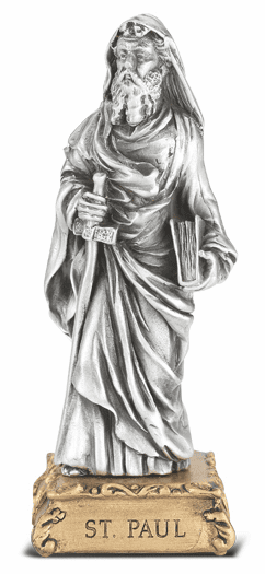 St Paul the Apostle Patron Saint Pewter Statue on Gold Tone Base by Hirten