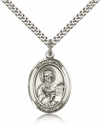 St Paul the Apostle Oval Silver-Filled Patron Saint Necklace by Bliss