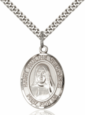 St Pauline Visintainer Silver-filled Patron Saint Necklace with Chain by Bliss