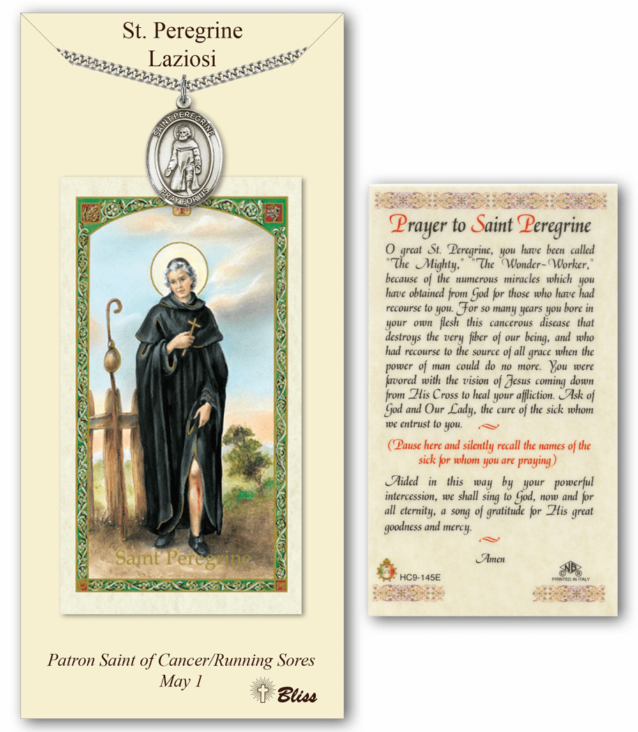 Bliss Mfg St Peregrine Laziosi Prayer Card & Pendant Gift Set
