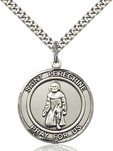 St Peregrine Large Round Patron Saint Medal Necklace by Bliss