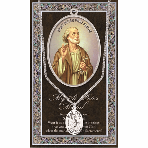 St Peter Pewter Patron Saint Medal Necklace with Prayer Pamphlet by Hirten