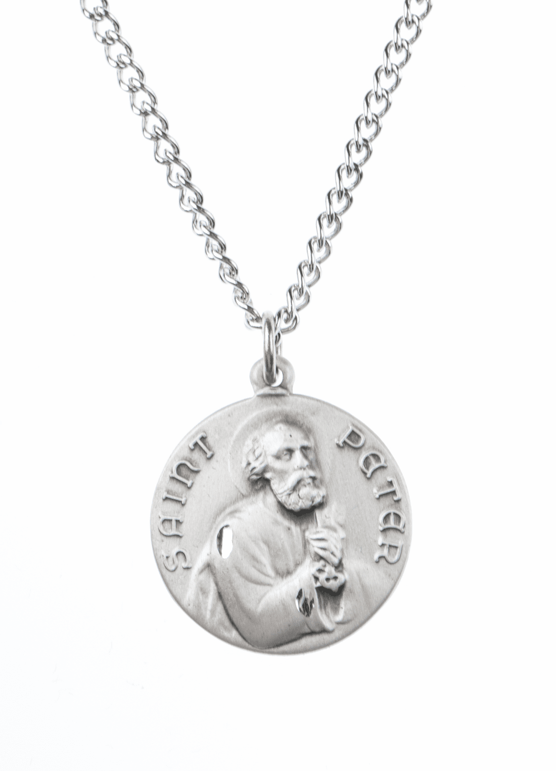 "St Peter Saint Medal Pendant w/18"" Chain by Jeweled Cross"