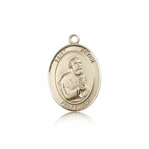 St Peter the Apostle 14kt Gold Patron Saint Pendant Medal by Bliss