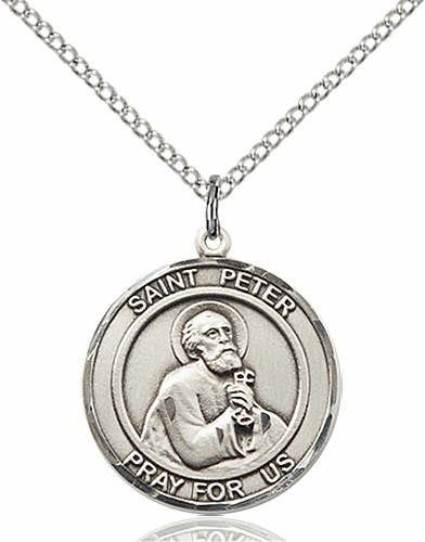 St Peter the Apostle Medium Patron Saint Silver-filled Medal by Bliss