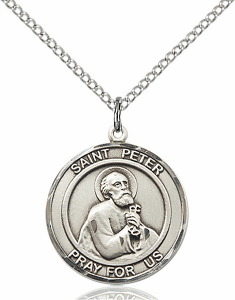 St Peter the Apostle Medium Patron Saint Sterling Silver Medal by Bliss