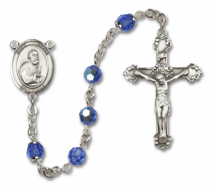 St Peter the Apostle Patron Saint Sapphire Swarovski Sterling Rosary by Bliss