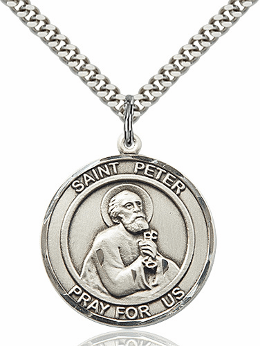 St Peter the Apostle Round Patron Saint Medal Necklace by Bliss