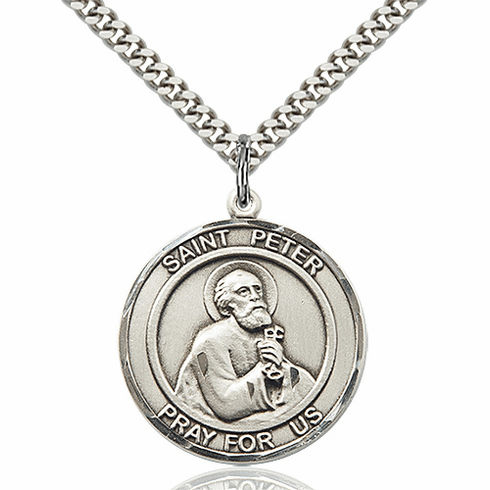 St Peter the Apostle Round Patron Saint Sterling Medal Necklace by Bliss