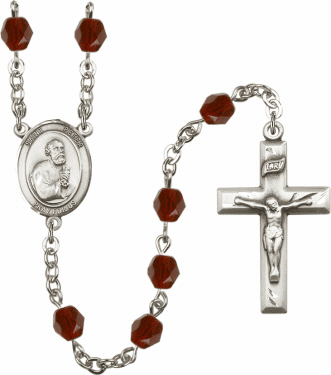 St Peter the Apostle Silver Plate Birthstone Crystal Prayer Rosary by Bliss