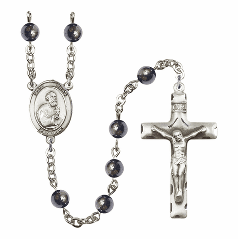 St Peter the Apostle 6mm Hematite Gemstone Rosary by Bliss